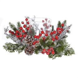 35cm Alpina Pine Christmas Candle Holder Frosted - 16X059
