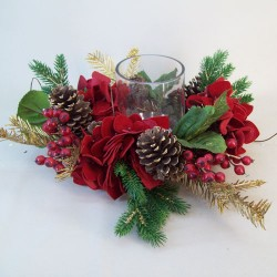 Hydrangea and Pine Christmas Candle Holder - 16X064