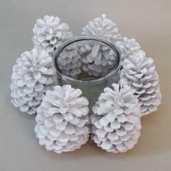 White Fir Cone Christmas Candle Holder - 16X062