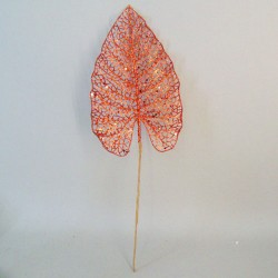Artificial Acanthus Leaf Orange Glitter - 16X007