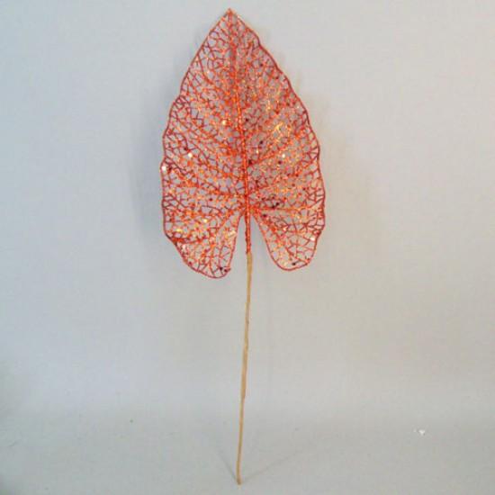 Artificial Acanthus Leaf Orange Glitter - 16X007