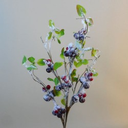 Artificial Berries Branch with Snow - 18X263