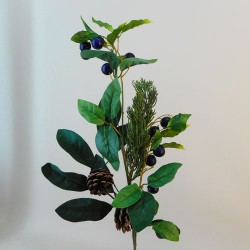 Artificial Blueberries with Spruce and Leaves Stem - 18X002