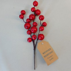 Artificial Cranberries Weather Resistant Red 25cm - 17X095