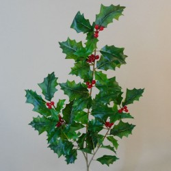 Artificial Holly Branch with Red Berries 53cm - X19021