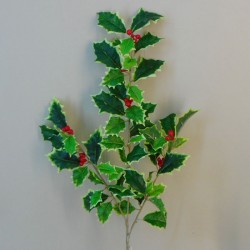 Artificial Holly Branch Variegated 53cm - X20047 BAY3