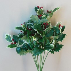 Artificial Holly Bush Variegated - X19016