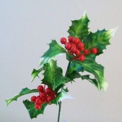 Artificial Holly Stem Variegated with Red Berries - 16X142