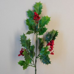 Artificial Holly Branch with Red Berries 51cm - X20002