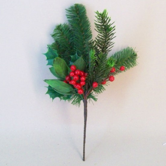 Artificial Pine and Holly Christmas Stem - 16X081