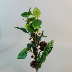 Artificial Snow Berries with Spruce and Leaves Pick - 18X006