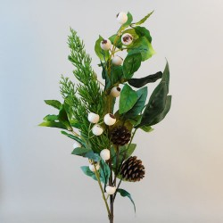 Artificial Snow Berries with Spruce and Leaves Stem - 18X003