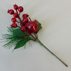 Artificial Spruce Berries and Apple Pick - 17X141