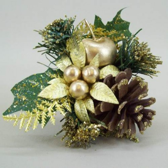 Christmas Pick Gold Apple and Artificial Berries - OX036