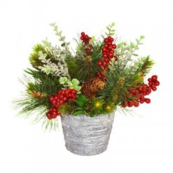 Christmas Greenery and Berries in Stone Pot - X21022