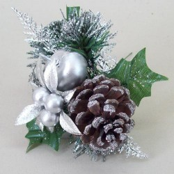 Christmas Pick Silver Apple and Artificial Berries - 14X151