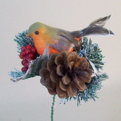 Christmas Pick Robin Pine Cone and Artificial Berries - 16X016