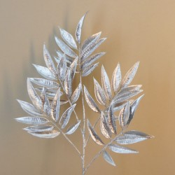 Glitter Ficus Leaves Silver 68cm - X20052