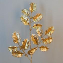 Glitter Christmas Holly Spray Gold 64cm - X20055