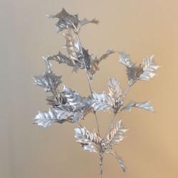 Glitzy Christmas Holly Spray Silver - 18X013