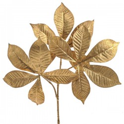 Gold Glitter Chestnut Leaves Spray - X19037