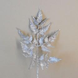 Silver Glitter Fern Leaf Spray 30cm - X20008