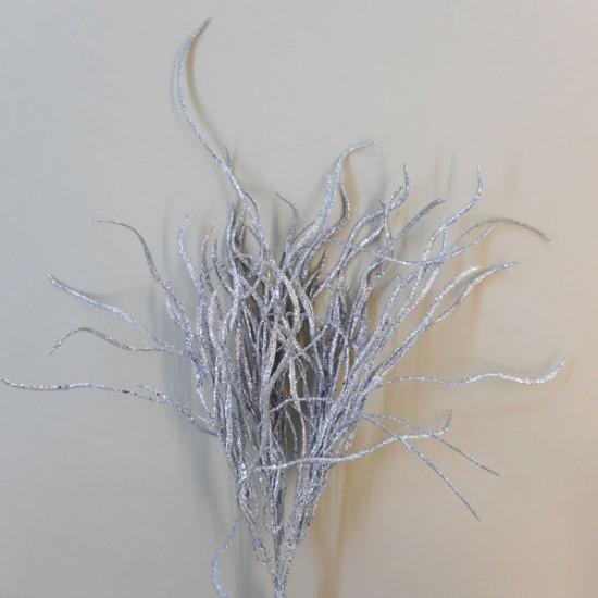 Silver Glitter Willow Spray - X19072
