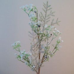 Luxury Frosted Gypsophila and Sleigh Bells Branch - 16X053
