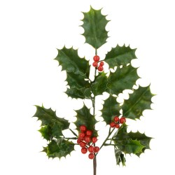 Artificial Holly Branch with Red Berries 37cm - X21056 BAY3B