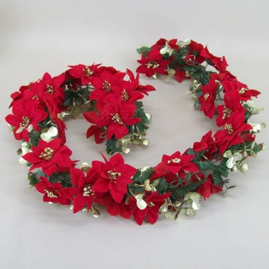 135cm Poinsettia Xmas Garland Red and Gold - 13X024