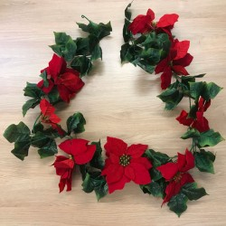 Artificial Poinsettias Christmas Garland Red 182cm - X20045