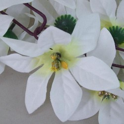 180cm Poinsettia Xmas Garland White - 14X144