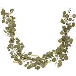 Artificial Salal Leaves Garland Green Gold 180cm - X19002