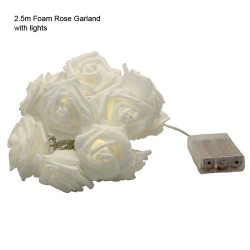 Foam Roses Garland with LED Lights 2.5m - 14X132