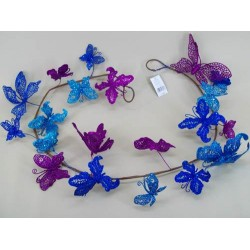Garland of Butterflies Aqua and Purple - OX002b