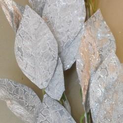 Metallic Leaves Christmas Garland Silver 180cm - 17X172