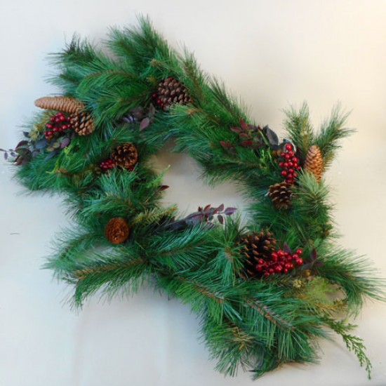 Artificial Christmas Garlands Pine Cones and Berries 180cm - 18X022