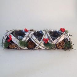 Rustic Birch Trim Christmas Tea Light Holder - 16X047