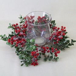 Christmas Frosted Berry Wreath with Hurricane Vase - 15X111