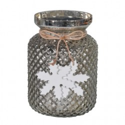 Large Glass Christmas Votive Candle Holder Gold with Snowflakes - GL099