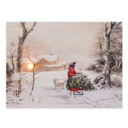 LED Light Up Christmas Scene Canvas | Bringing the Tree Home - 17X091