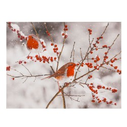 LED Light Up Christmas Scene Canvas | Robins - 17X090