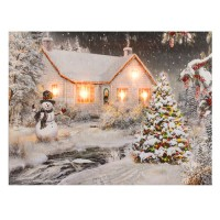 LED Light Up Christmas Scene Canvas   Welcome Home - 17X092