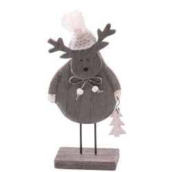 Wooden Christmas Decorations Grey Reindeer with Pompom Hat - 17X215