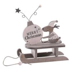 Wooden Christmas Decorations Grey Reindeer Sleigh - 17X212
