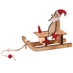 Wooden Christmas Decorations Santa Sleigh - 17X214