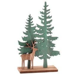 Wooden Christmas Decorations Woodland Reindeer Scene - 17X209