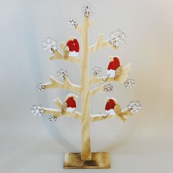 Wooden Christmas Tree with Robins - 17X217