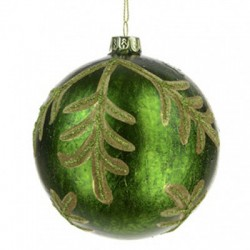 100mm Green Glass Christmas Baubles with Leaves - 17X054