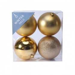100mm Shatterproof Christmas Baubles Gold Pack of 4 - X19061